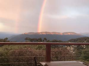 A rainbow in Jamison Valley